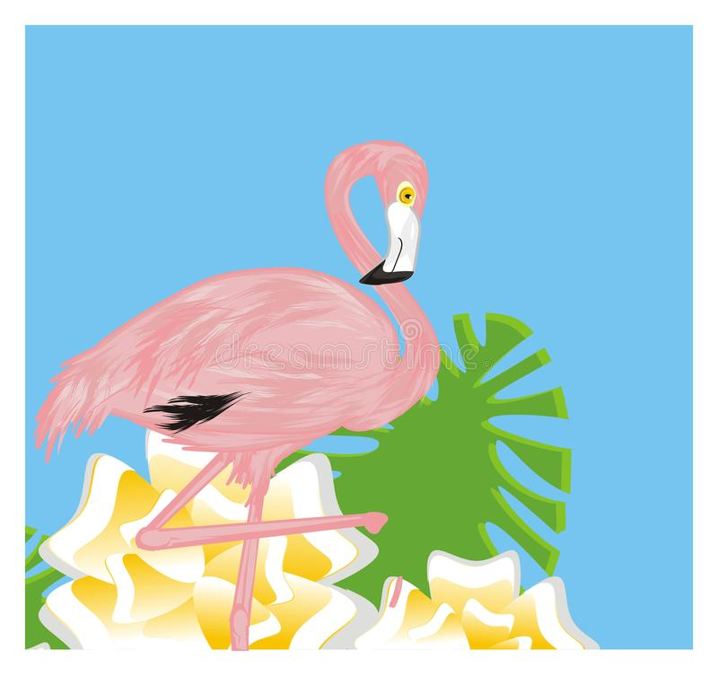 Flamingo and colored background royalty free illustration