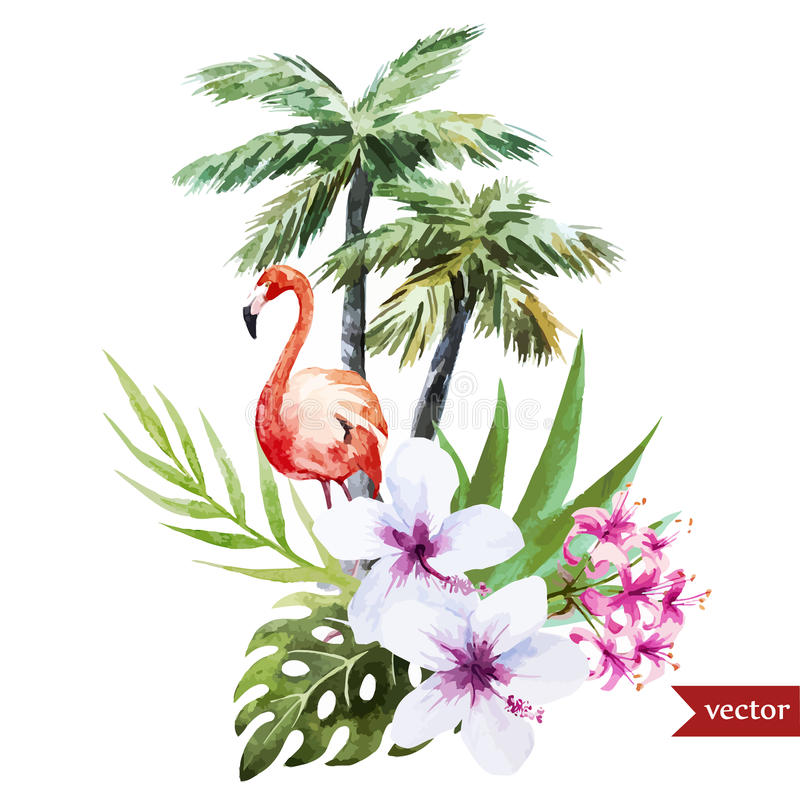 Flamingo com palmas e flores ilustração do vetor