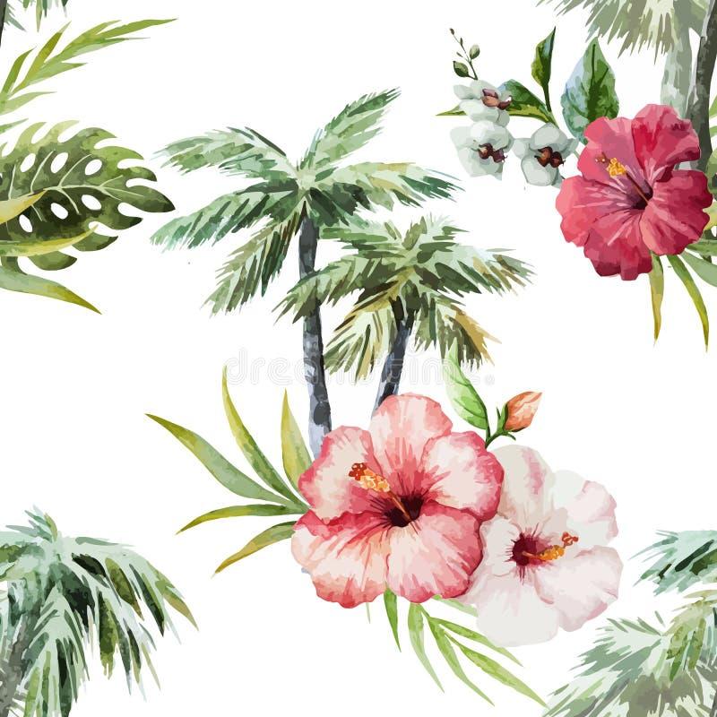 Flamingo com palmas e flores ilustração stock