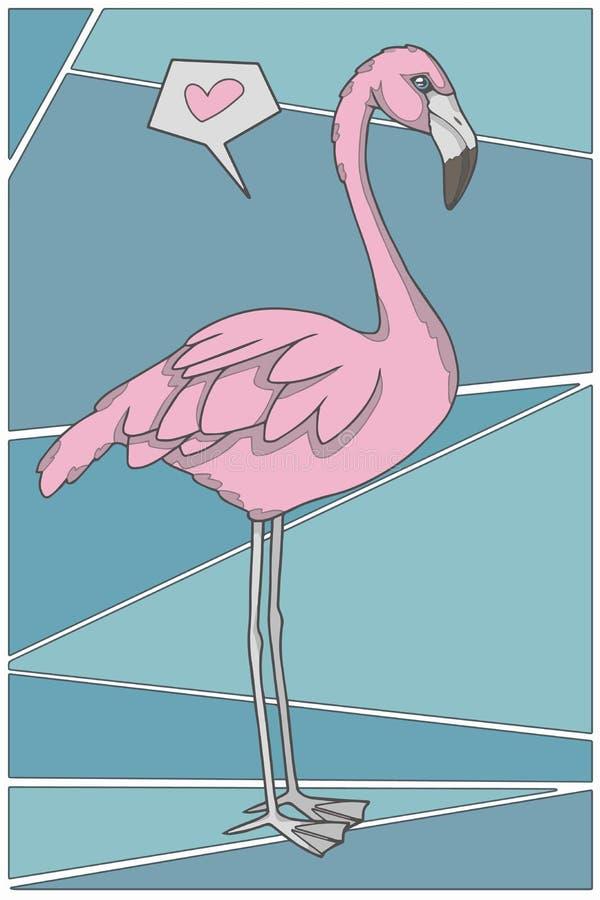 Flamingo completo do rosa do corpo do estilo dos desenhos animados do vetor com coração na ilustração gráfica do fundo da cerceta ilustração do vetor