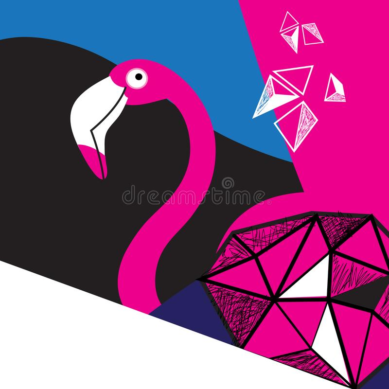 Flamingo cor-de-rosa bonito do cartaz dos gráficos ilustração stock
