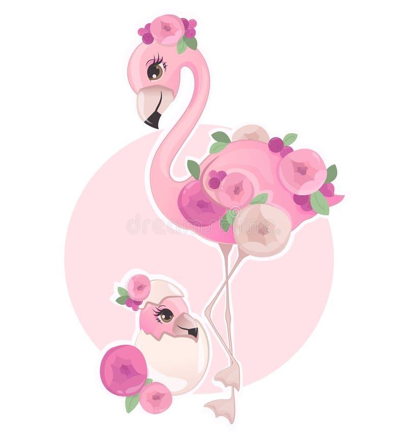 Flamingo cor-de-rosa com ilustração floral do vetor dos elementos ilustração do vetor