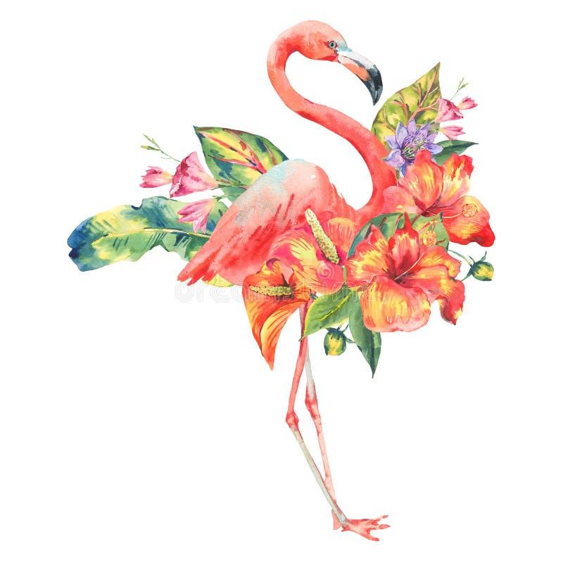 Flamingo cor-de-rosa da aquarela e flores tropicais ilustração royalty free