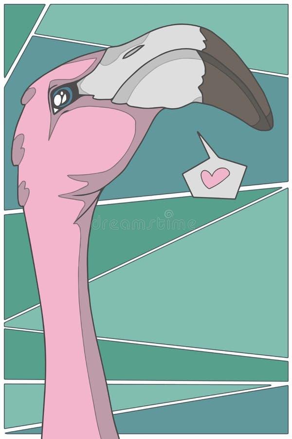 Flamingo cor-de-rosa do estilo dos desenhos animados do vetor com coração na ilustração gráfica do fundo verde ilustração stock