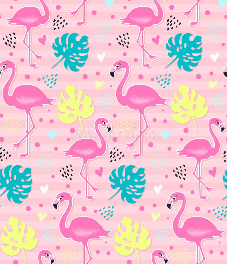 Flamingo cor-de-rosa do vetor, teste padrão sem emenda do monstera Fundo tropical do verão ilustração stock