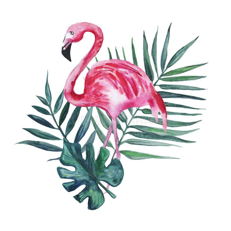 Flamingo cor-de-rosa e folhas de palmeira isolados em um fundo branco Ilustra??o da aguarela ilustração do vetor