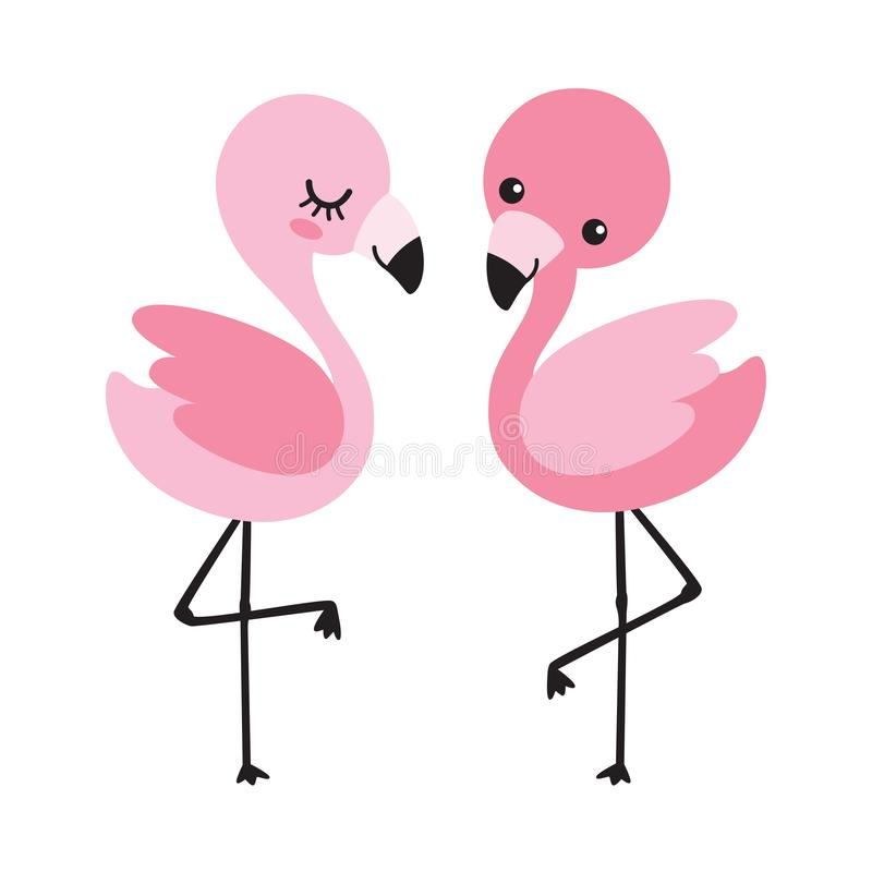 Cute Baby Flamingo Couple Vector Illustration stock illustration