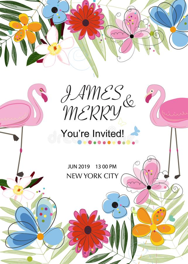 Flamingo couple. Colorful wedding invitation card. Flamingo theme. Tropical flowers. Baby shower, Summer party card stock illustration