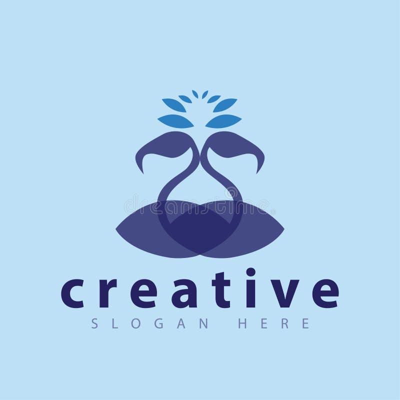 Flamingo Couple logo Vector template. Vector element of logo design vector illustration