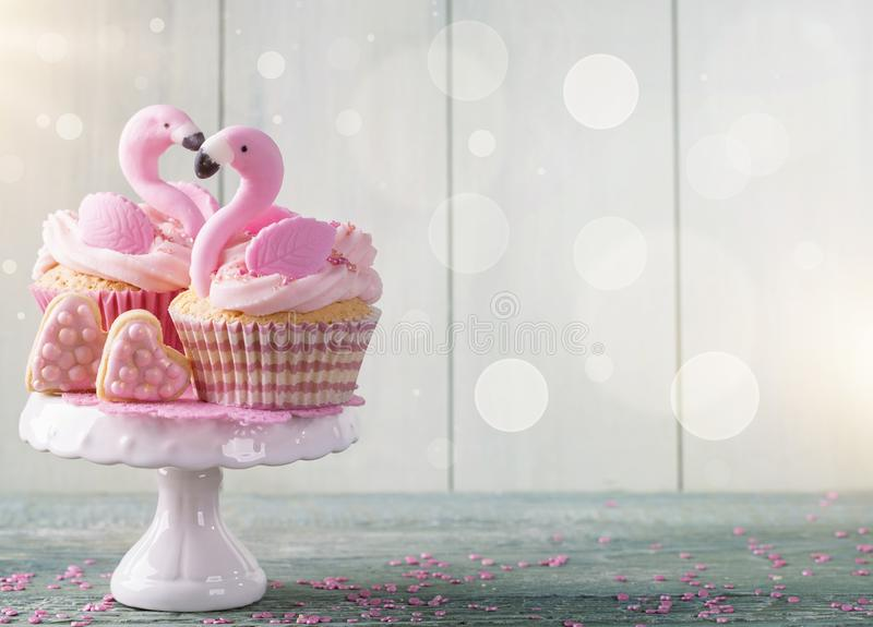 Download Flamingo cup cakes stock image. Image of cookie, text - 115965973