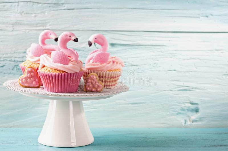 Download Flamingo cup cakes stock photo. Image of birthday, cupcake - 115966010