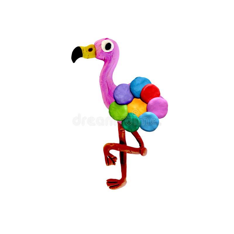 Flamingo da massa de modelar 3D com corpo da flor do arco-íris ilustração stock