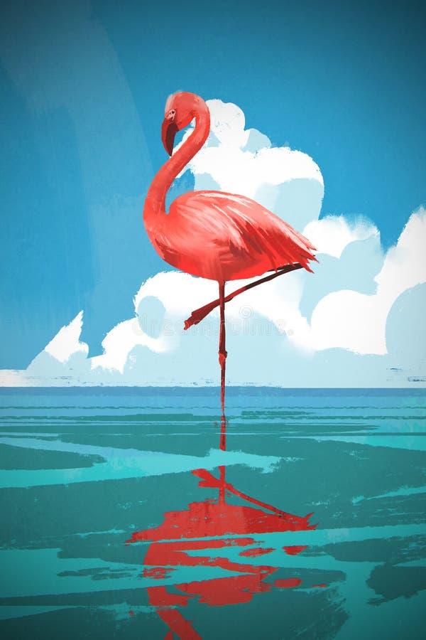 Flamingo die zich op het overzees tegen de zomer blauwe hemel bevinden vector illustratie