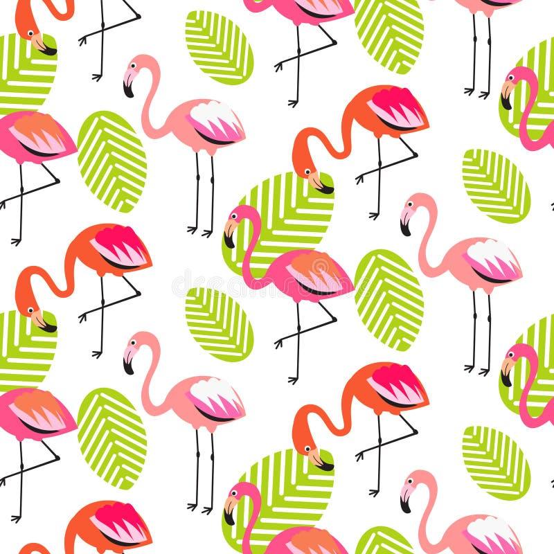 Flamingo do verão e teste padrão sem emenda das folhas ilustração royalty free