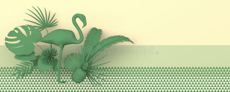 Flamingo door tropische uitheemse gewassen wordt omringd dat Zwart-wit groen beeld op een geelgroene achtergrond met een geometri vector illustratie