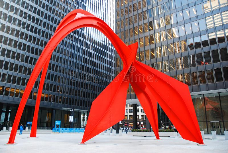 Flamingo durch Alexander Calder, Chicago lizenzfreie stockfotos