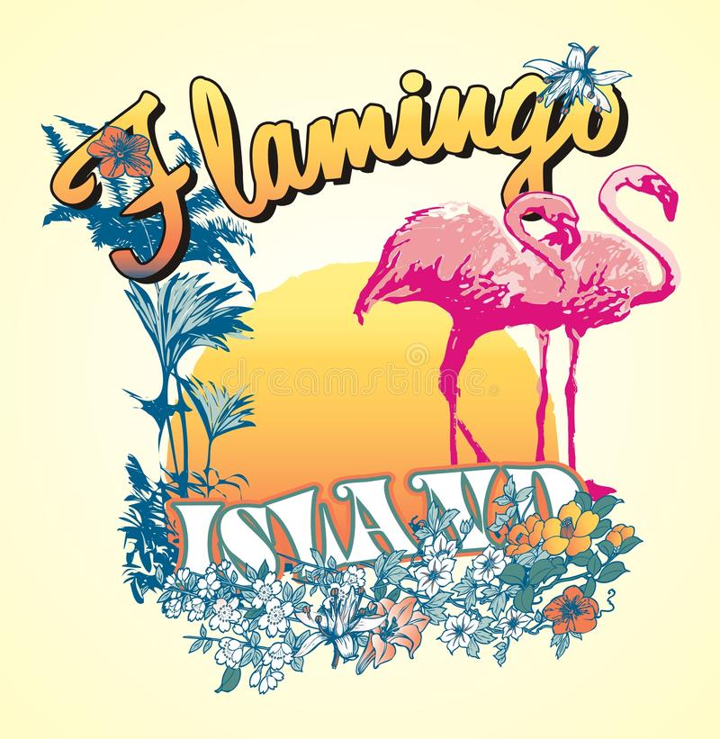 flamingo eiland vector illustratie