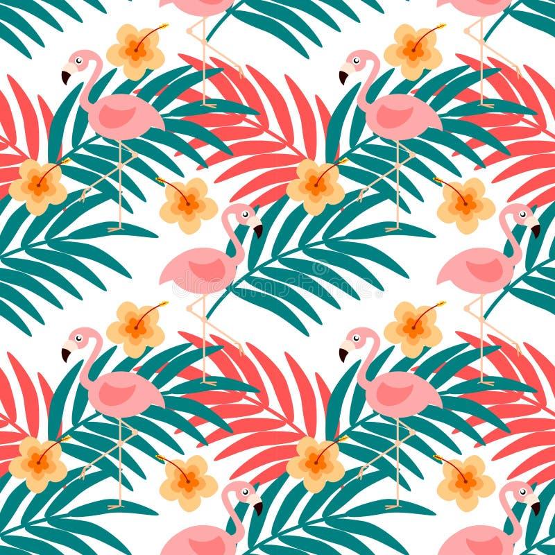 Flamingo en het naadloze patroon van de de zomerbloem stock illustratie