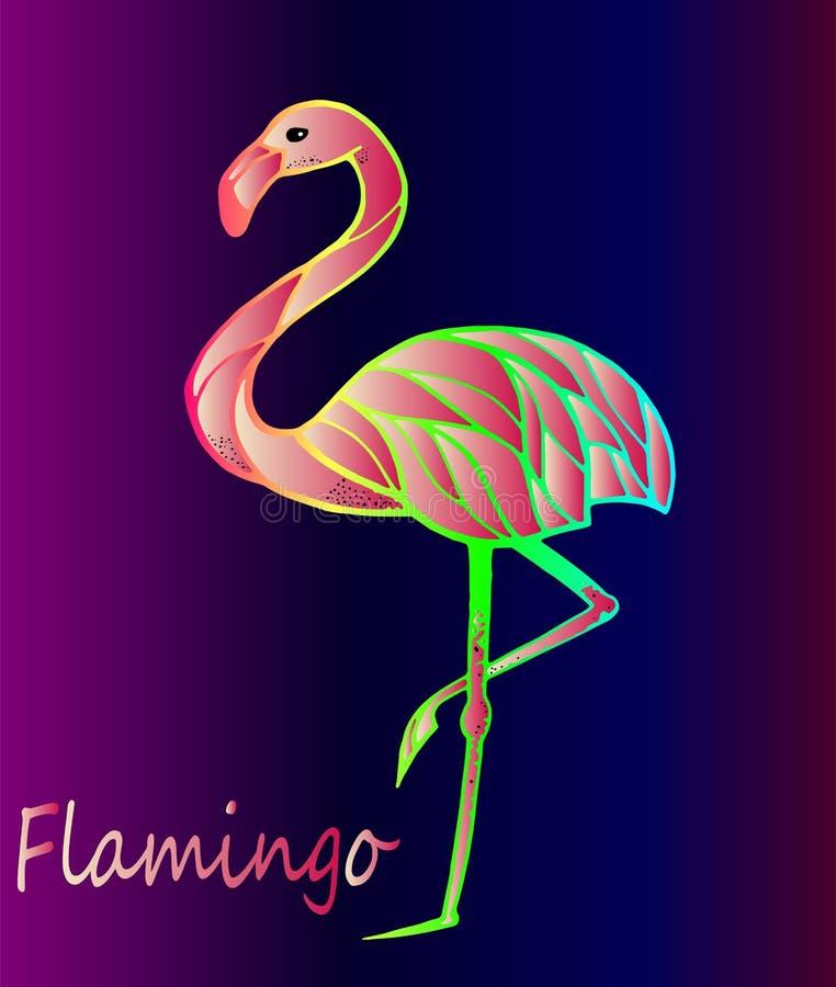 Flamingo exótico do pássaro ilustração royalty free