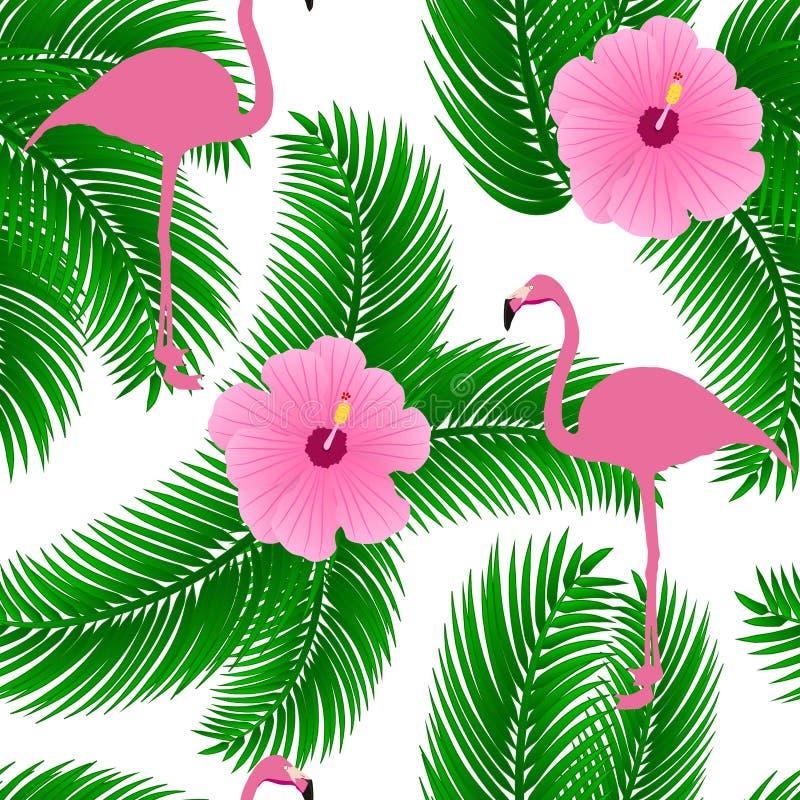Flamingo exotic seamless vector pattern. vector illustration