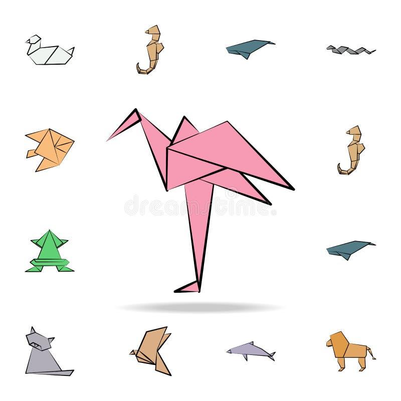flamingo färgade origamisymbolen Detaljerad uppsättning av origamidjuret i utdragna stilsymboler för hand Högvärdig grafisk desig royaltyfri illustrationer