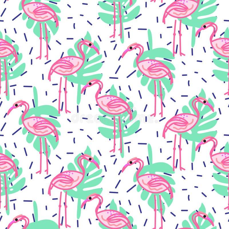 Flamingo för sommarpopkonst och gömma i handflatan den sömlösa modellen för vändkretsfilialer vektor illustrationer