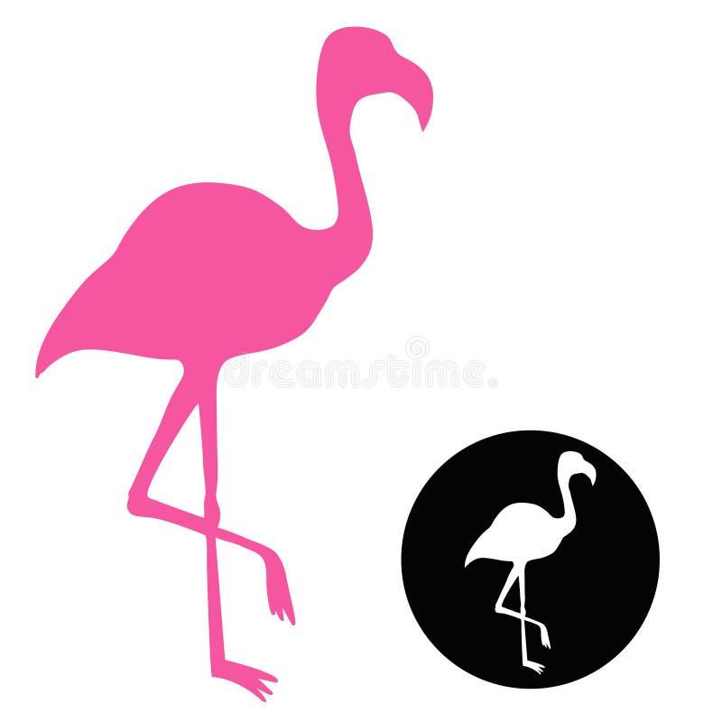 Flamingo för vektorkonturrosa färger royaltyfri illustrationer