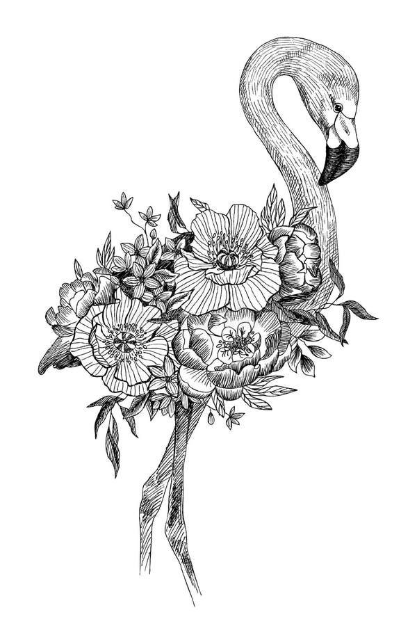 Flamingo för vektorteckningsfågel med att blomma blommor dekorativt element Grafiskt fågelbegrepp Tropiskt begrepp stock illustrationer