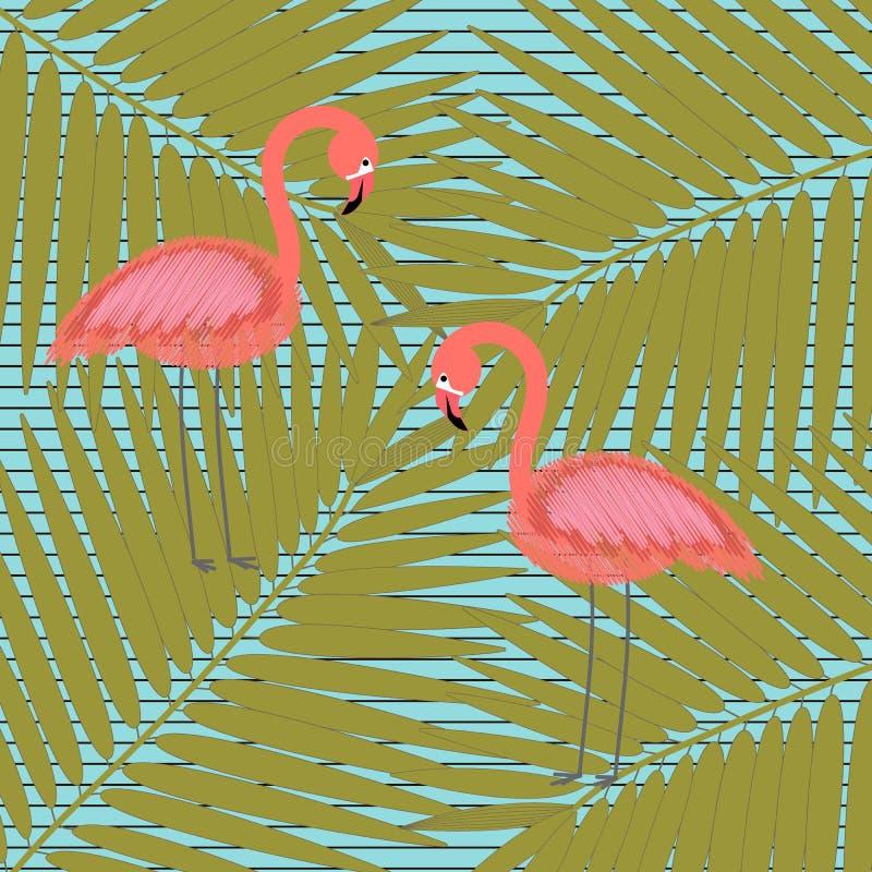 Flamingo, flowers, palm leaves, banana leaves on a geometric background. Jungle foliage illustration. Colorful tropical royalty free illustration