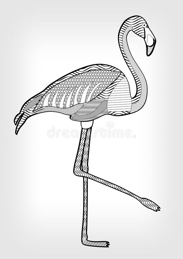 Flamingo in hatched design bird drawing with ornament on body on download flamingo in hatched design bird drawing with ornament on body on grey gradient background pronofoot35fo Images