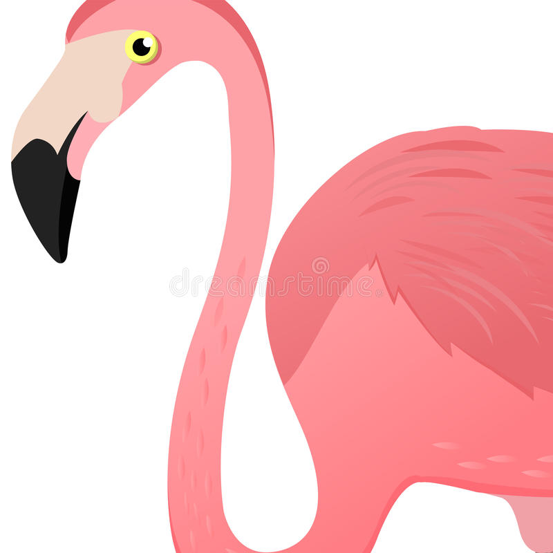 Free Flamingo Head. Vector Illustration. Poster With Flamingo Logo. Cute Tropic Exotic Bird. Isolated On White Background. Royalty Free Stock Images - 90994449