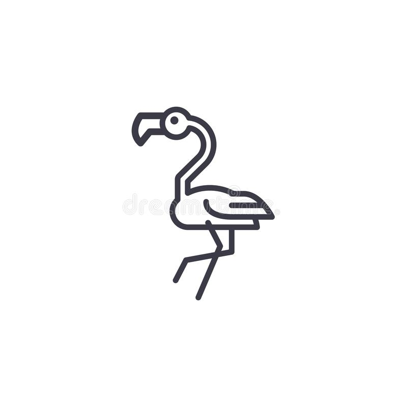 Flamingo head vector line icon, sign, illustration on background, editable strokes. Flamingo head vector line icon, sign, illustration on white background royalty free illustration