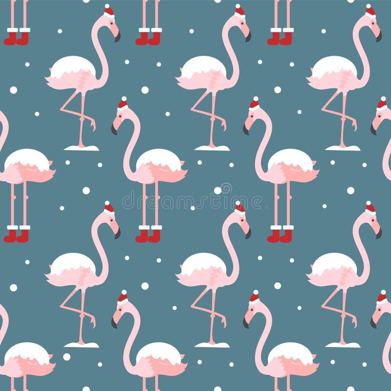 Flamingo in het naadloze patroon van de Kerstmishoed op blauwe achtergrond Exotische Nieuwjaarachtergrond Kerstmisontwerp voor st royalty-vrije illustratie