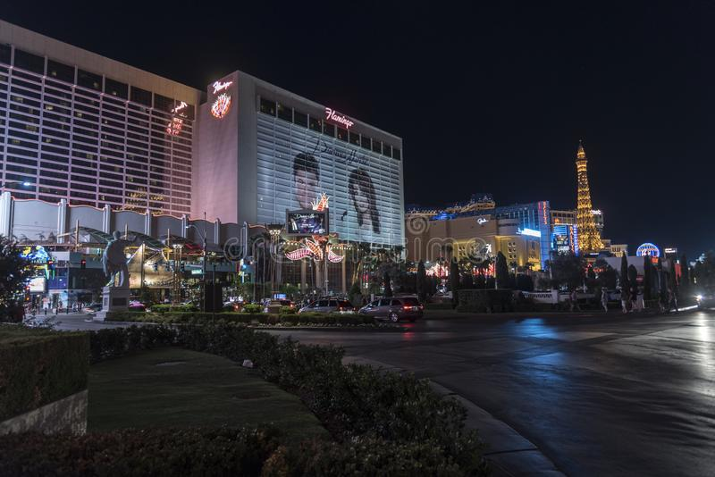 The Flamingo Hotel/Casino at night Las Vegas. Las Vegas, in Nevada's Mojave Desert, is a resort city famed for its vibrant nightlife, centered around 24 royalty free stock images