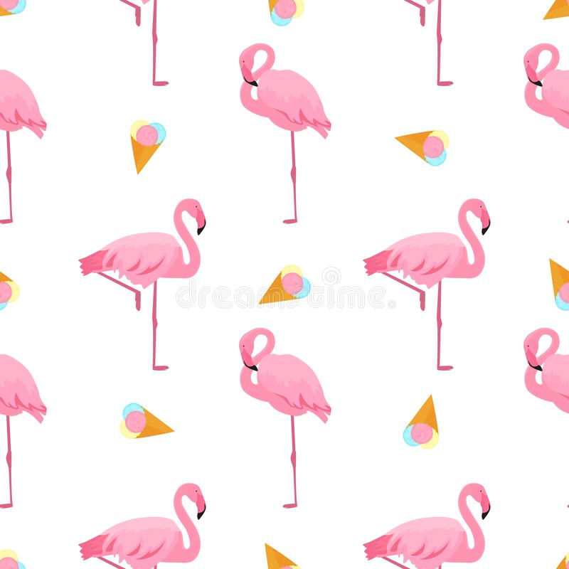 Flamingo and ice-cream. Summer tropical seamless pattern. Used for design surfaces, fabrics, textiles, packaging paper, wallpaper.  royalty free illustration