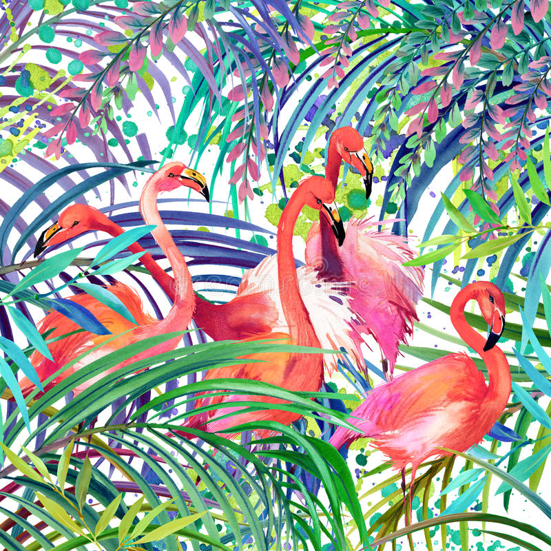 flamingo illustration. Tropical exotic forest, green leaves, wildlife, bird flamingo watercolor illustration. royalty free illustration