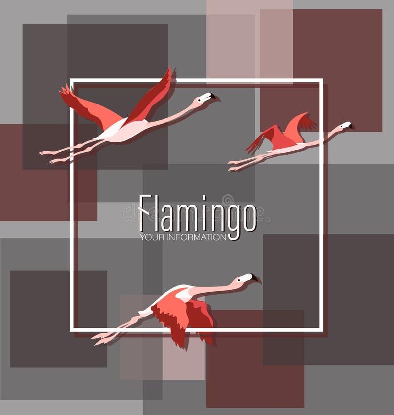 Flamingo im Flug Würdevolle Vögel auf dem Hintergrund von geometrischen Formen stock abbildung