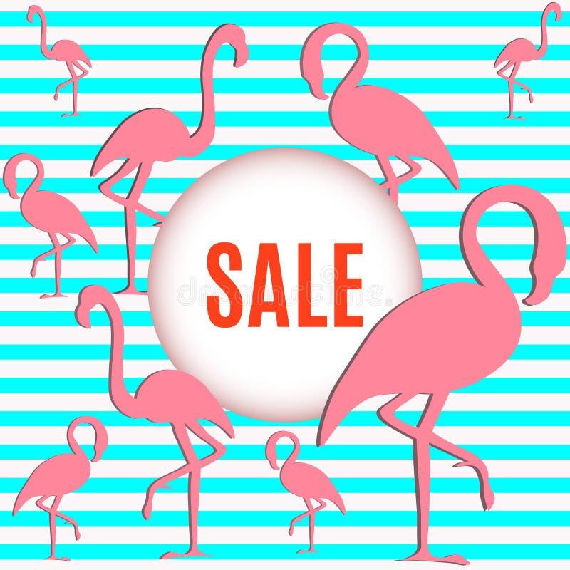 Flamingo with inscription sale stock photo