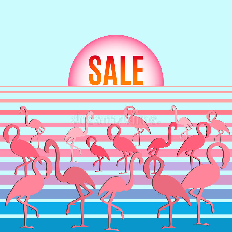 Flamingo with inscription sale royalty free stock image