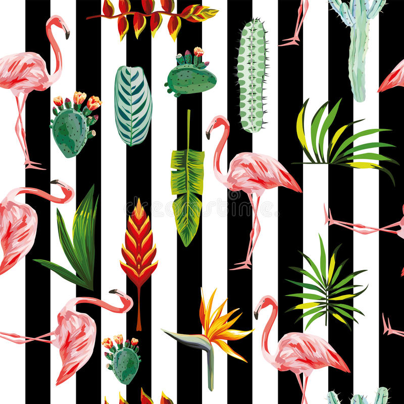 Flamingo leaves flowers seamless striped background royalty free illustration
