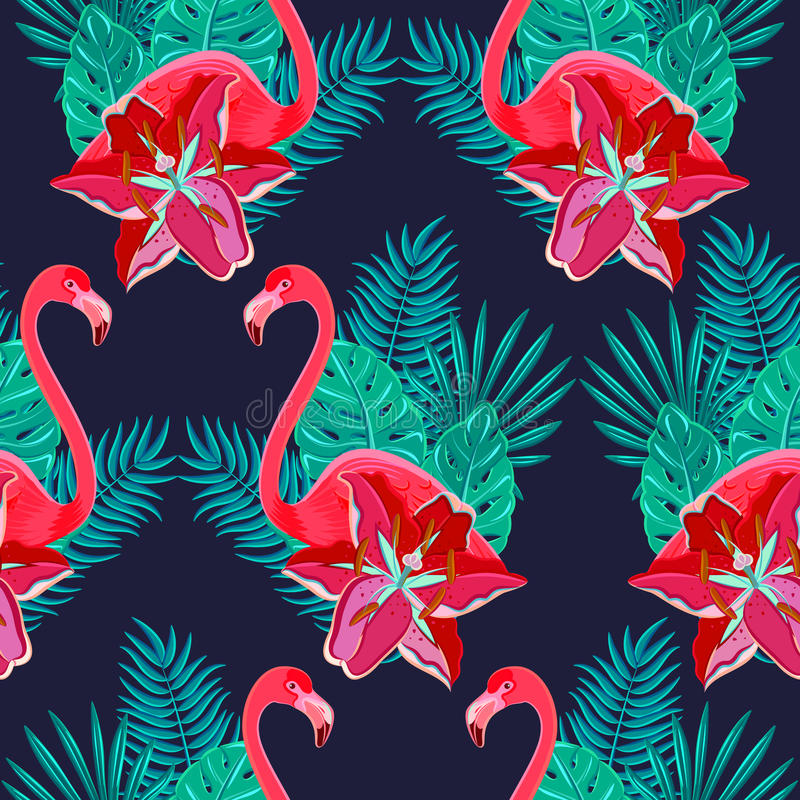 Download Flamingo Lilies Colorful Seamless Pattern Stock Vector - Illustration of illustration, island: 53146618