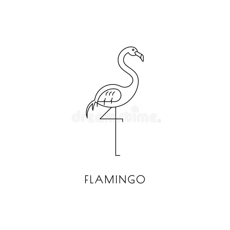 Flamingo outline icon stock vector Illustration of logotype 118105558