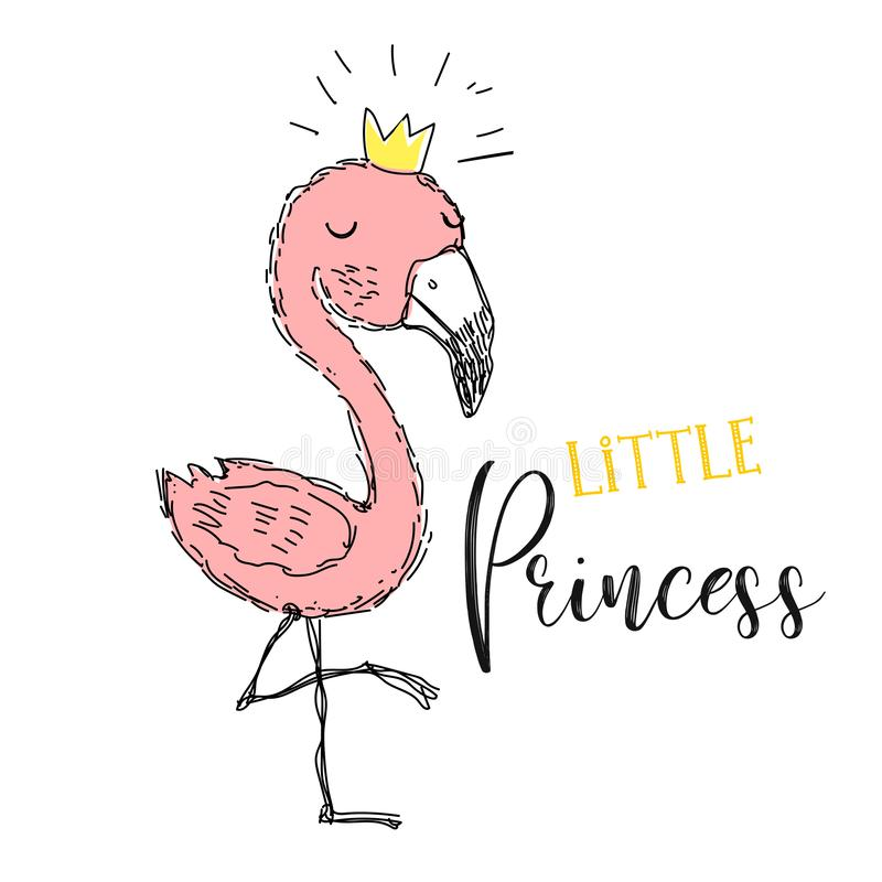 Flamingo. Little princess.Flamingo girl in a cute style. Inscription. Vector. royalty free illustration