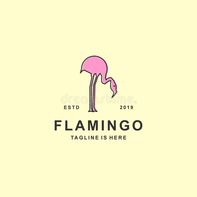 Flamingo logo with flat design royalty free illustration