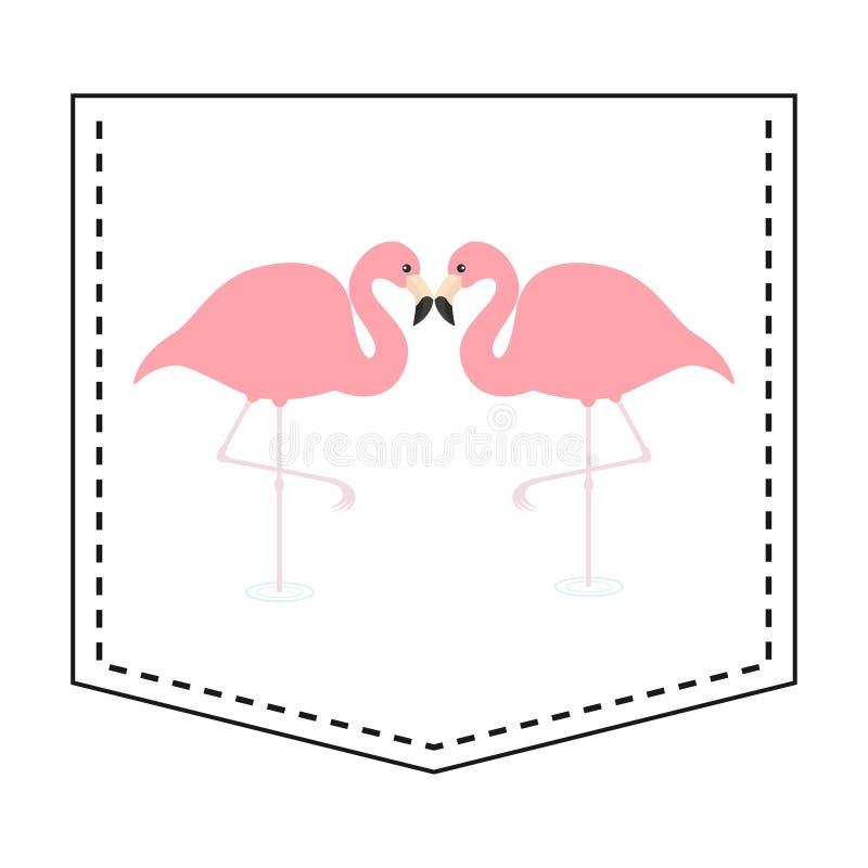 Flamingo love couple pocket print. T-shirt design. Cartoon animals. Cute baby character. Dash line. Bird animal. White background. Isolated. Flat design Vector royalty free illustration