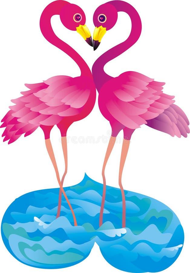 Flamingo making love. Vector illustration. Two pink flamingos making love. Vector illustration stock illustration
