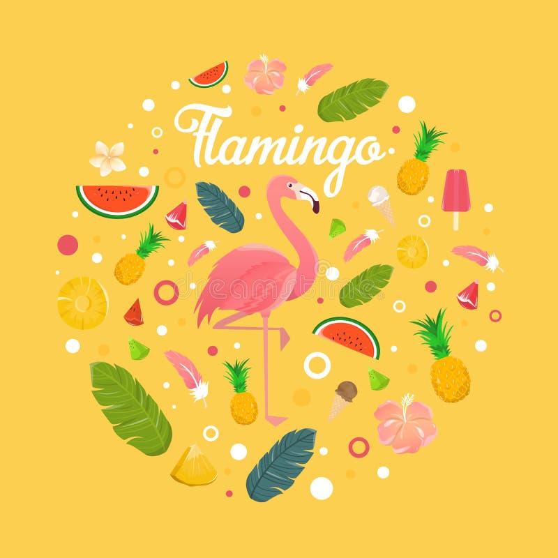 Flamingo med läckra frukter och efterrätter i sommar gulnar bac royaltyfri illustrationer