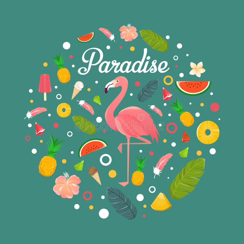 Flamingo med läckra frukter och efterrätter i sommargräsplan tillbaka stock illustrationer