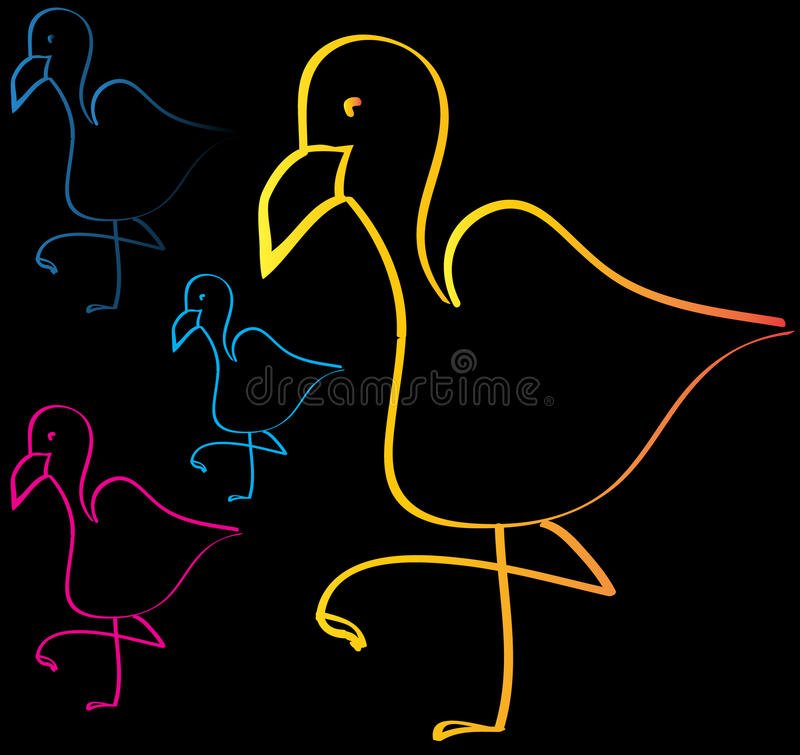 Flamingo met zwarte achtergrond royalty-vrije stock foto's