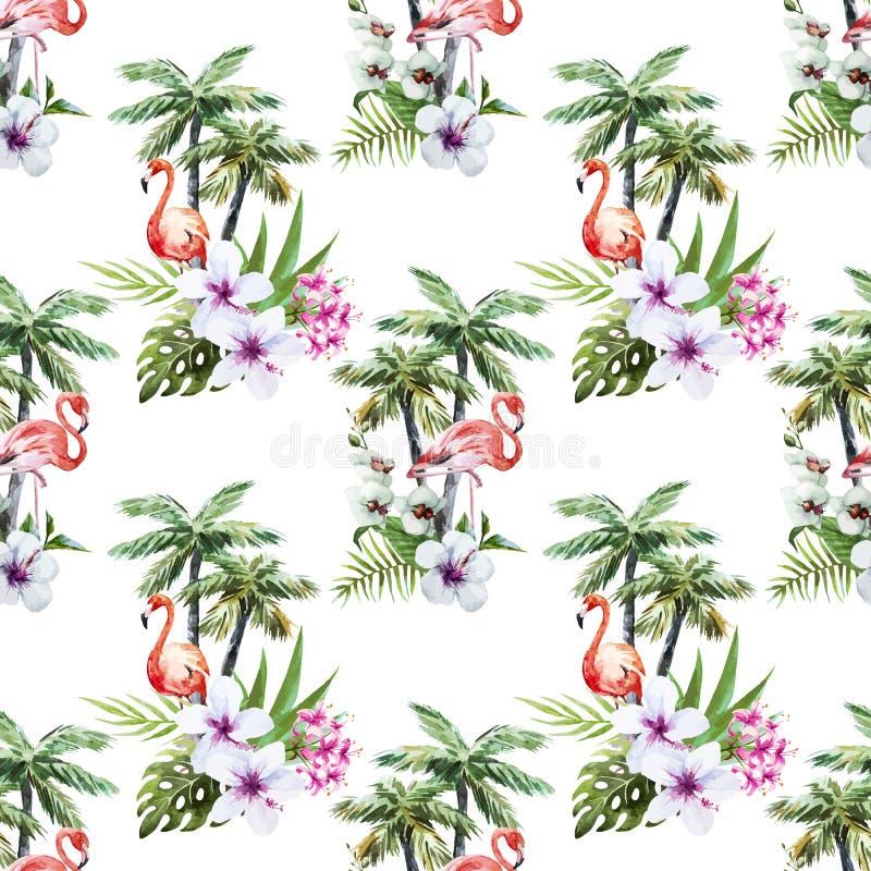 Flamingo mit Palmen und Blumen lizenzfreie abbildung